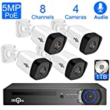 Hiseeu 5MP PoE Security Camera System,8CH PoE Surveillance NVR Kit with 1TB Hard Drive,4pcs 5MP Outdoor Home Security Camera for Video & Audio Recording,Plug-Play Wired Security Camera System,Onvif