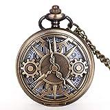 LXDDP Reloj de Bolsillo Exquisito Half Hunter Gear Wheel Design Reloj de Bolsillo Vintage Quartz Pocket Watch Collar Chian Hombres, Mujeres, niños