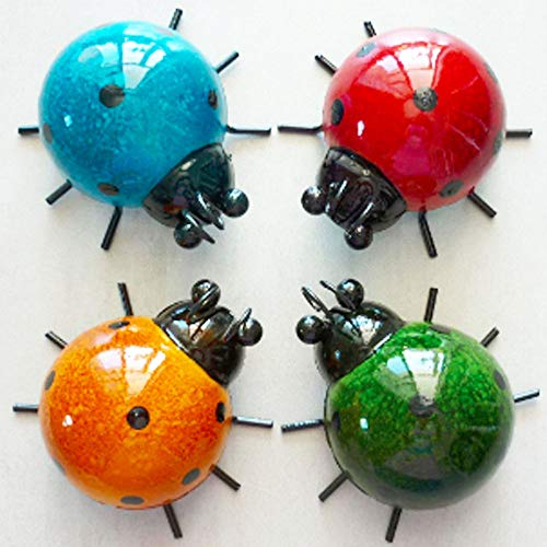 WALLARTDECOR Metal Ladybugs Wall Art Cute 3D Sculpture, Wall Decor Hanging for Indoor Outdoor Home Garden - Easy to Install - Antiseptic (Set of 4)