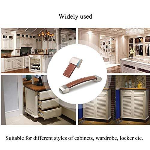 armadio porta comodino SoundZero 8 pezzi Pomelli per armadio in pelle maniglie per mobili in pelle PU maniglie per cassetti in pelle Maniglie per manopole Maniglie di pelle per mobili per cucina
