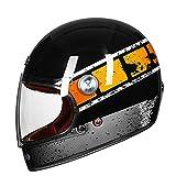 Cara completa de fibra de carbono motocross casco vintage motocicleta profesional retro casco ECE certificación negro brillante naranja XL