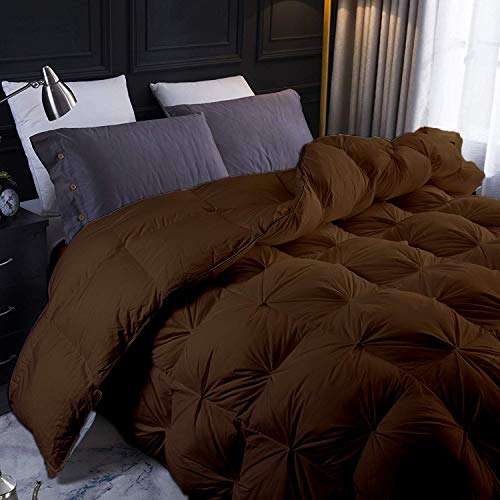 YGJT Brown All Season Goose Down Pintuck Comforter- Eastern King Size 118 x 110 Inches 1 pc Pinch Pleated Duvet, 550 GSM with Corner Tabs 100% Egyptian Cotton- Hypoallergenic Brown Solid