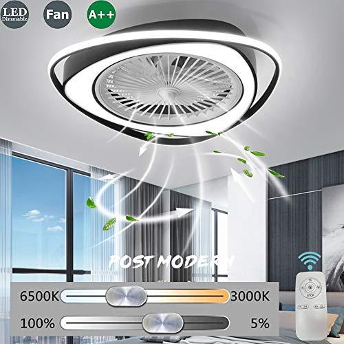 LED Deckenventilator Lüfterlicht Mit Beleuchtung Unsichtbares Fan Einstellbar Modern Schlafzimmer Deckenleuchte 38W Dimmbar Fernbedienung Leise Kinderzimmer Ventilator Lamp Deckenlampe