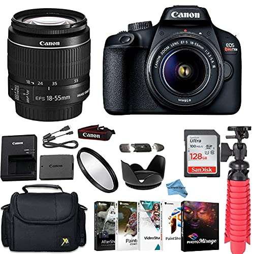 Canon EOS Rebel T100 DSLR Camera Bundle with Canon EF-S 18-55mm f/3.5-5.6 is II Lens + Gadget Case +...