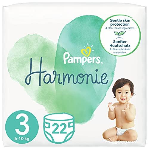 Pampers Größe 3 Harmonie Baby Windeln, 22 Stück, Tragepack, Mit Premium-Baumwolle Und Pflanzenbasierten Materialien (6-10kg)