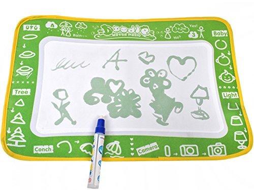 Hoogwaardige schildermat met waterstift & schildersjablonen - schilderen & schrijven - educatieve mat speelmat voor baby & kinderen - leren van letters cijfers tekenen, schilderkoffer schilderstiften viltstiften watermat