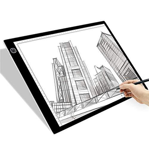 A3 LED Light Box, SAMTIAN Portable Tracing Light Pad USB Powered Light Drawing Board Kit Ultra-Thin Adjustable Brightness Copy Board for Animation, Artists Designing, Sketching, X-ray Viewing