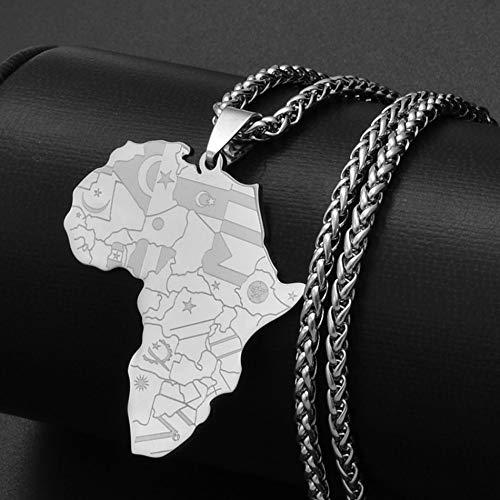 FDDSSYX Collar De Mapa,Creatividad Plata Color África Mapa Bandera Colgante Cadena Collares Mapas Africanos Joyería Encanto Hip Hop Regalo para Hombres Señoras Fiesta Joyería Regalos Patrióticos