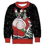 Belovecol 105-180 - Jersey de Navidad para niño, con impresión 3D, cuello redondo, diseño navideño Navidad 02. 6-7 Años