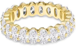 NYC 标准女式 925 纯银方晶锆石 5x3mm 椭圆形永恒戒指