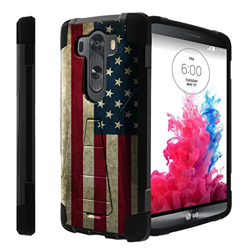 Untouchble Case for LG V10, V10 Case[Traveler Series]- Dual Layer Hard Plastic Inner Silicone Stand Case - Vintage American Flag
