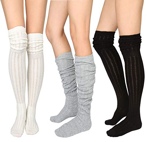 STYLEGAGA Winter Slouch Top Over The Knee High Knit Boot Socks (One Size:XS...