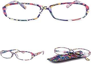 263752f645 VEVESMUNDO Gafas de Lectura Mujer Hombre Compactas Portatiles Flores  Presbicia Anteojos Para Leer con Colores Bolsillo