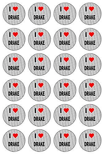 AK Giftshop Ik hou van Drake - 24 Eetbare Cupcake Toppers Taart Decoraties - Gemakkelijk Precut Cirkels