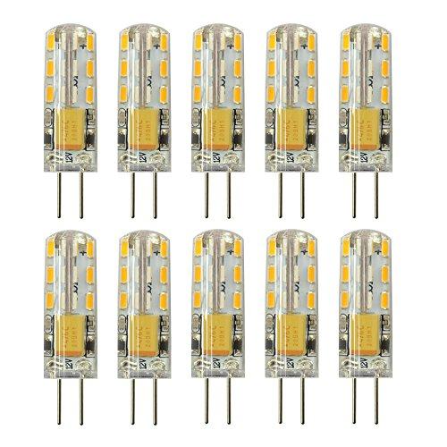 Rayhoo 10pcs G4 LED Bulb Bi-Pin Base Light Lamp 1.5 Watt AC/DC 12V 10-20V Equivalent to 10W T3 Halogen Track Bulb Replacement 360° Beam Angle(Warm White 2800-3200K)