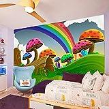 LSDAMW Papel Tapiz Panorámico 3D Dibujos Animados Arco Iris Lindo Seta 400X280Cm Mural De Pared Decoración De Pared Póster Xxl Para Sala De Estar Dormitorio Oficina Pasillo Mural Decoración
