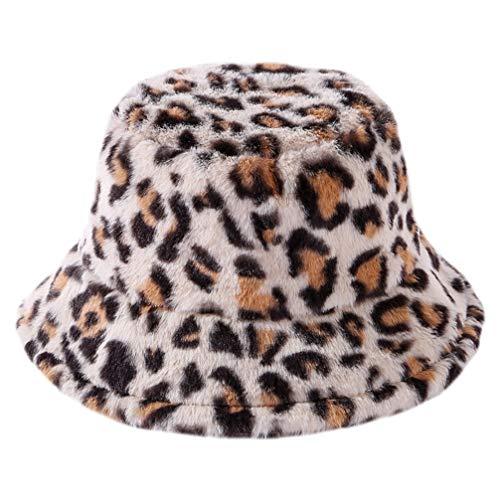 VALICLUD Sombreros de Invierno para Mujer Sombrero de Cubo de Piel Sintética Gorro de Pescador con Estampado de Leopardo Gorro Cálido Vintage