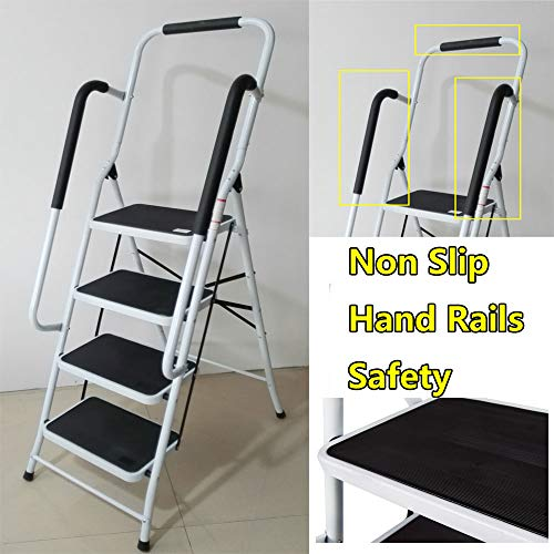 Folding 4 Step Ladder Heavy Duty Steel with Non Slip Tread and Anti-Slip Safety Handrail Hand Rail