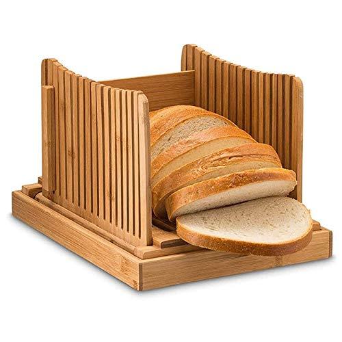 Hengqiyuan Bambú Plegable Pan Máquina De Cortar, Rebanar Guía Pan con Guía De Corte, Compacto Tabla De Cortar Pan Tostado con Bandeja De Recogida De La Miga De Pan De La Torta De Sandwich,Marrón