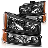 DWVO Headlight Assembly Compatible with 2003-2007 Chevy Silverado 1500HD/2500HD/ 2003-2006 Chevy Avalanche Black Housing with Front Signal Lights (4 PCS, Not Fit Body Cladding Models)