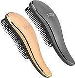 Cepillo desenredante – Juego de cepillos desenredantes – Cepillo de pelo sin dolor alisador que elimina enredos y nudos alisando el cabello brillante y liso (oro rosa y plata)
