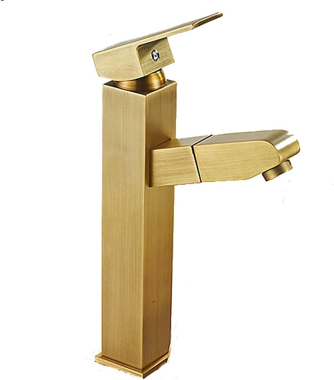 JFFFFWI Platz High-Style-Wasserhahn Kupfer Pull Typ Hot and Cold Single Retro europischen Stil Badezimmer Waschbecken ffnung ist 32mm bis 42mm installiert Werden kann