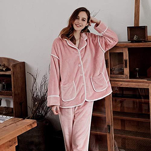 STJDM Camicia da Notte,Pigiama Invernale in Flanella Completo Rosa Addensare Donna Set da Notte Indumenti da Notte Pigiama in Pile di Corallo Morbido Lettera Abbigliamento per la casa XXL Rosa