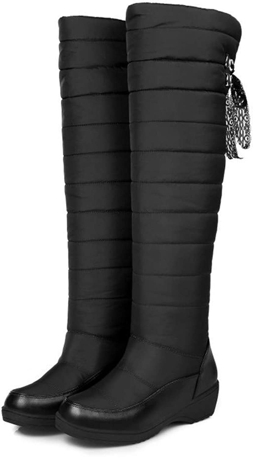 Top Shishang Waterproof and Anti-Skiing Boots, Winter Over The Knee, Low Heel, high Boots, Martin Boots, Women