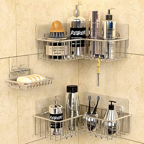 GeekDigg Corner Shower Caddy Shelf 3 Sets Adhesive Bathroom Basket Shelf with Hooks Soap Dish Holder for Toilet Dorm and Kitchen 2-in-1 SUS304 Kitchen Spice Racks - Silver