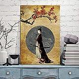 UIOLK Póster de decoración del hogar, Imagen Modular, samurái japonés, Kimono, Tatuaje de dragón, Lienzo Abstracto, Pintura para Sala de Estar, Pintura en Lienzo