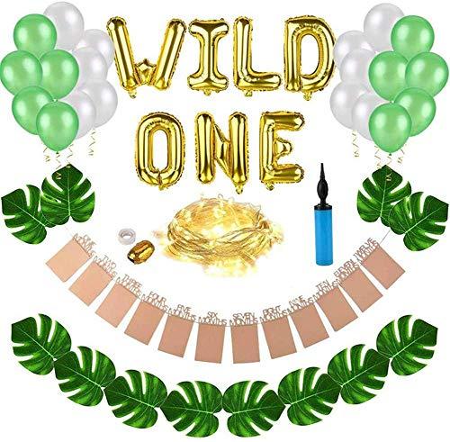 Nfudishpu Kit de Decoraciones Wild One Birthday, Globos Wild One de 16 Pulgadas con 12 Piezas de Hojas de Palma Artificiales, Decoraciones de Safari Zoo Jungle temáticas de 1er cumpleaños