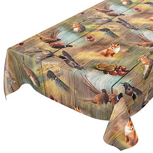 ANRO Wachstuch Tischdecke abwaschbar Wachstuchtischdecke Wachstischdecke Jagt Wild Jäger Motiv Holz 200x140cm