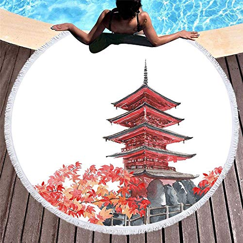 Anjaco Impresión Digital 3D Suave Toalla De Playa Redonda con Flecos De Playa Estera De Yoga Estera Mantón 150 * 150 Cm