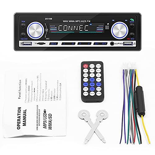 ZWMBAOR Radio Bluetooth Automóvil,Reproductor Multimedia Mp3,Micrófono Incorporado Estéreo Universal Automóvil 12 V,con Función Reproducción Memoria Apagado,para Modificación Interior Automóvil