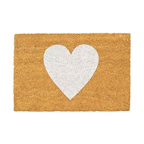 Nicola Spring Fußmatte aus Kokosfaser - rutschfeste PVC-Unterseite - weißes Herz - 40 x 60 cm