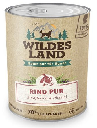 Wildes Land Hundefutter Nassfutter Rind PUR 400g (18 x 400g)