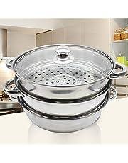 3-laags roestvrij stalen stoomboot zonder kookgerei, gasstomer, stoomboot met glazen deksel
