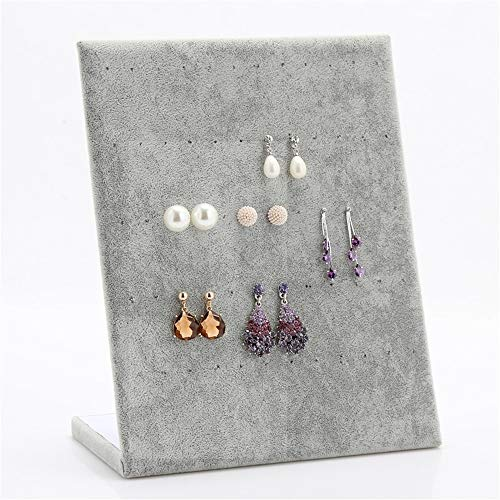 Jewelry Organizer Holder Earrings Storage Shelf Display Stand Jewelry Creative Suede L-shaped Earrings for Rings Bracelets (Color : Gray, Size : 25x20x10cm)