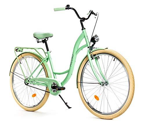 Milord. Komfort Fahrrad mit Rückenträger, Hollandrad, Damenfahrrad, 1-Gang, Mint Grün, 28 Zoll