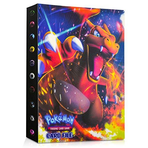 EKKONG Pokemon Sammelalbum, Pokemon Karten Album Pokemon Karten Halter Ordner Buch GX EX Trainer Sammelkartenalben, 28 seitig Kann bis zu 224 Karten aufnehmen (Glurak)