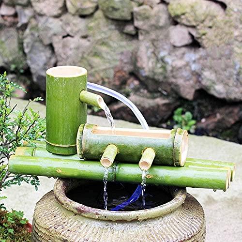 Kit de Fuente de bambú Fuente de Agua Baja de bambú con Bomba Decoración Zen Japonesa Cascada Interior / Exterior Cascada de bambú Longitud 90cmoein