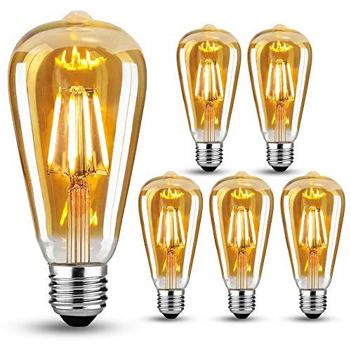 LED Lampadina Vintage Edison, Lampadine Stile Vintage LED E27 4W (equivalenti a 40W) Lampadine Retró a vite, Decorativo Luce Filamento della Lampadina, Ambra calda, 6 pezzi