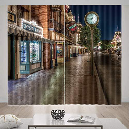 zpbzambm Salon Chambre Rideau D'Occultation 3D Art Street View Isolation Réduction du Bruit Soie Noire Rideau 250(H) X150Cm(L) X2Pièces/Set