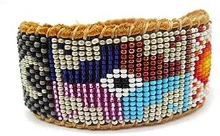 Beaded Chakana Incan Cross, Sun and Moon Cuff Bracelet on Deer Hide