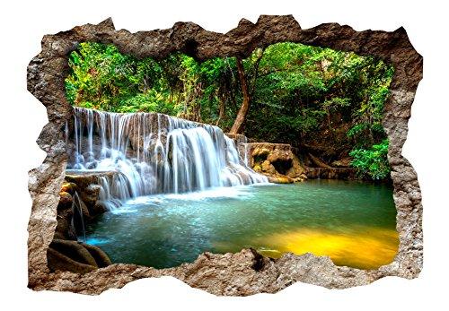 murando - 3D WANDILLUSION 140x100 cm Wandbild - Fototapete - Poster XXL - Loch 3D - Vlies Leinwand - Panorama Bilder - Dekoration - Wasserfall Natur c-C-0156-t-a
