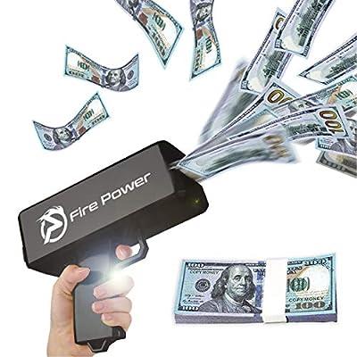 UNKENBO Money Gun Shooter – Prop Guns for Movies That Look Real , Money Gun Make it Rain with Play Money 100 Dollar Bills ( Black ) by UNKENBO