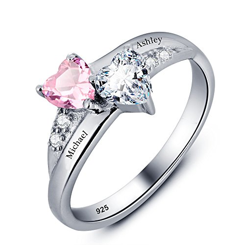 Ashleymade Personalized Engagement Promise Rings for Women Free Engraving Name Rings with 2