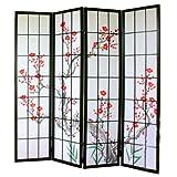 PEGANE Biombo de Madera con Flor de Cerezo Color Negro 4 Paneles
