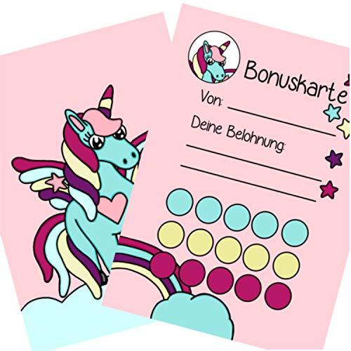 5X Bonuskarten Einhorn DIN A6 Belohnungssystem Kinder für Jungen Mädchen Punkte sammeln Belohnungstafel Fleißkärtchen Fleißkarte Töpfchentraining Hausaufgaben Hausarbeit Stempelkarte Punktekarte
