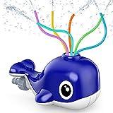 Kiztoys Wassersprinkler für Kinder, Garten Spielzeug, Wasserspielzeug mit 6 Schlauch, Wasserrutsche Garten in Wal Fun Toy für Kinder im Freien Spielen